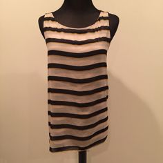 Ann Taylor Loft loose fit sleeveless top SZ S Cute beige, black and yellow stripped loose fit tank blouse.  Very soft material double layer.  Size small.  No flaws.  Smoke free home.  No trades, no holds.  #loft LOFT Tops Tank Tops
