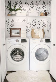 Love this small closet laundry room! Who says a small laundry room can't make a statement? The black & white wall decals tie the space together. Small Laundry Room - Home Decor - Farmhouse Laundry Room - Wall Paper Laundry Room Tiny Laundry Rooms, Laundry Room Design, Laundry In Bathroom, Small Laundry Closet, Laundry Closet Makeover, Laundry Decor, Laundry Closet Organization, Laundry Room And Pantry, Small Laundry Space