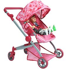 Deluxe Doll Twin Stroller  Pink Hearts Design Mega Twin stroller for 18 inch dolls -- You can find out more details at the link of the image.Note:It is affiliate link to Amazon.