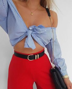 #summer #outfits / striped top + red
