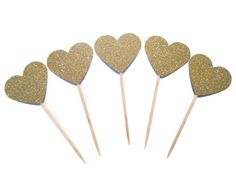 Set of 24 Gold Glitter Heart Food Picks - weddings, bridal showers, gold hearts, food picks, holiday food picks -cheapest so far!