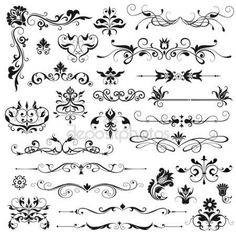 Find Set Vector Floral Elements Design stock images in HD and millions of other royalty-free stock photos, illustrations and vectors in the Shutterstock collection. Floral Illustrations, Illustration Art, Fleurs Art Nouveau, Art Terms, Wedding Clip, Photoshop, Clipart Design, Decorative Borders, Scrapbook Embellishments
