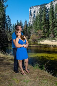 Engagement photo shoot at Yosemite National Park in the valley with El Capitan in the background.