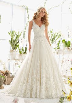 Morilee Bridal Classic Tulle Wedding Dress with Crystal Beaded, Alencon Lace Appliques and Wide Scalloped Hemline