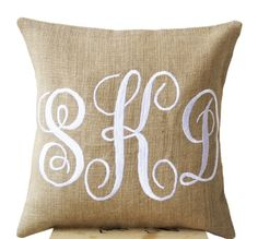 Buy Amore Beaute Handcrafted Burlap Monogram Pillow Covers Embroidered with Three Letters in Cursive Font - Custom Monogrammed Gifts - Initial Cushion Cover- Baby - Wedding Pillow - Boho Chic Natural Burlap Cushion Cover X Monogram Pillowcase, Burlap Monogram, Letter Monogram, 3 Letter, Initial Cushions, Personalized Pillows, Custom Pillows, Personalized Gifts