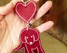 Puppy Love - handcrafted leather key ring bag charm - Edit Listing - Etsy Leather Keyring, Key Rings, Puppy Love, Dog Tag Necklace, Coin Purse, Drop Earrings, Wallet, Stone, Handmade