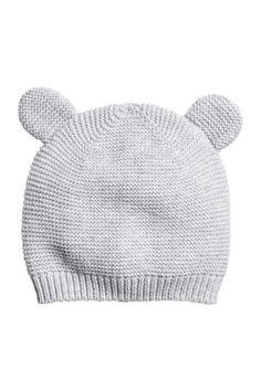 Fine-knit Hat with Ears | Light gray | KIDS | H&M US