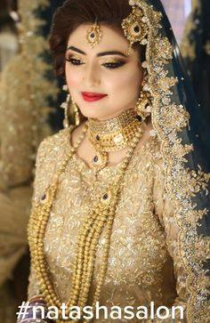 Real bride Ayesha Abid oozes old world romantic glamour in our signature luxe bridal on her 'barat' with intricate craftsmanship and impeccable attention to details. Pakistani Bridal Makeup, Pakistani Wedding Outfits, Bridal Outfits, Indian Bridal, Pakistani Dresses, Bride Indian, Punjabi Bride, Indian Weddings, Bridal Lehenga