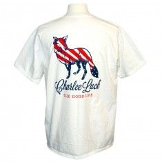 The Patriot Tee $25.00  The Patriot Tee embodies Charlee's patriotism while being a perfect tee for summer cookouts and days on the water.  Features: Pocket Tee Garment Dyed Pre-shrunk 100% Cotton Double-needle stitching on neck, sleeve and bottom hem