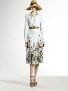 Gucci  Flora Stripe Silk Dress