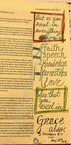Easy Bible Art Journaling Journey: 2 Corinthians 8:7 (May 15th)