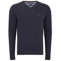 Tommy Hilfiger Men's V Neck Basic Jumper (230 BGN) ❤ liked on Polyvore featuring mens, men's clothing, men's sweaters and blue