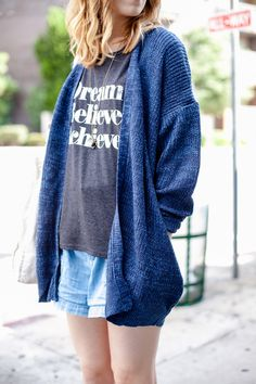 A simple, loose knit cardigan is your go-to layer for this fall