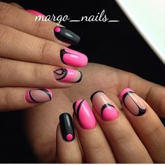Black and pink geometric nail art❤❤❤ Manicure Y Pedicure, Shellac Nails, Pink Nails, Acrylic Nails, Great Nails, Fabulous Nails, Gorgeous Nails, Beautiful Nail Designs, Beautiful Nail Art