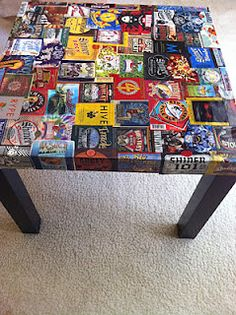 Craft beer labels reused to decoupage a small table by Eric Williams - going to do this on a shelf for our barware Beer Crafts, Craft Beer Labels, Wine Labels, Beer Can Art, Beer Art, Home Crafts, Fun Crafts, Baseball Crafts, Beer Coasters
