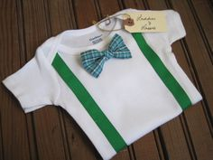 onesie with applique suspenders and a bow tie :: could diy with orange/brown for Thanksgiving :)