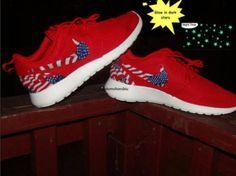 Custom Nike Roshe Run- Red Nike Roshe Runs - Glow in Dark American Flag - Women/ Men/ Kids