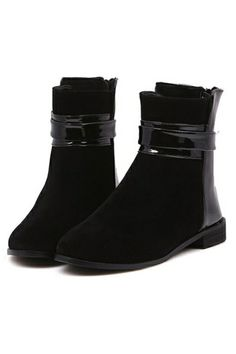 The faux suede ankle #boots featuring PU paneled. Ankle strap with buckle. Padded insole.