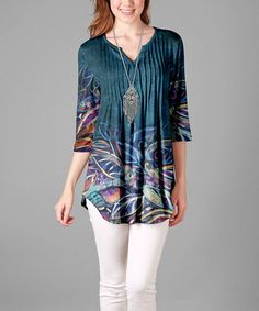 Simply Aster Teal & Ivory Abstract Pin Tuck Tunic - Plus Pin Tucks, Plus Size Outfits, Plus Size Fashion, Boho Chic, Aster, Cover Up, Teal, Ivory, Feminine