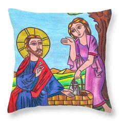 Jesus And The Samaritan Woman Throw Pillow by Eman Allam