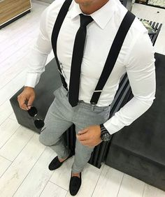 Suspenders outfit - How to Wear Suspenders A Complete Solution for Men How To Wear Suspenders, Suspenders Outfit, Mode Outfits, Casual Outfits, Fashion Outfits, Fashion Clothes, Mode Masculine, Herren Outfit, Classy Men