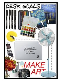 """MAKE ART"" by drinkdionysus ❤ liked on Polyvore featuring interior, interiors, interior design, home, home decor, interior decorating, Nearly Natural, Paladone, Vinyl Revolution and INDIE HAIR"