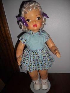 """Terri Lee Hard plastic 16"""" 1950's doll Platinum Barrel Print Dress"""