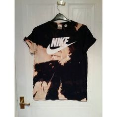Unisex Customised Nike Acid Wash Tie Dye Nike T Shirt Sz Medium... (87 QAR) ❤ liked on Polyvore featuring tops, t-shirts, grey, women's clothing, gray tee, acid wash t shirt, tie dye tee, grey top and unisex tops