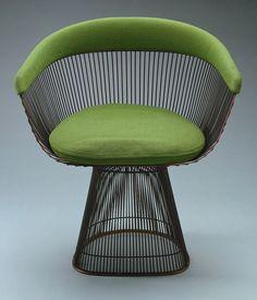 Warren Platner; Bronze-Plated Steel Chair for Knoll, 1965.