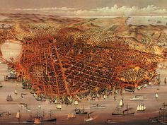Currier and Ives Poster Print Wall Art Print entitled Vintage Birds Eye View Map of the City of San Francisco Antique Maps, Vintage Maps, Vintage Posters, Vintage Prints, Vintage Wood, Vintage Photos, San Francisco Map, San Francisco California, Birds Eye View Map