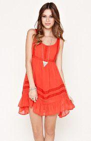 Chiffon Lace Inset Dress