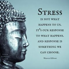Stress is not what happens to us. It's our response to what happens . Response is the something we can choose. - Maureen Killoran