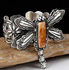 XXL Darrell Cadman Dragonfly Bracelet Sterling Silver Navajo w Spiney Oyster   eBay