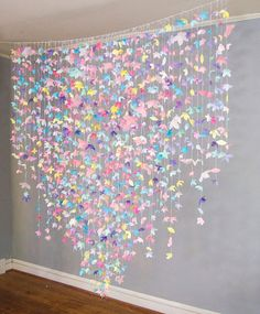 Paper Flower Garland: Unicorn Pastels - **please note: this display is made to order so adjustments can be easily made on the dimensions/co - Butterfly Birthday Party, Butterfly Baby Shower, Unicorn Birthday Parties, Unicorn Party, Birthday Party Decorations, Butterfly Party Decorations, Paper Flower Garlands, Paper Flowers, Party Kulissen
