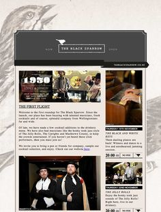 E-newsletter email design with sidebar for The Black Sparrow, via Design Bump.