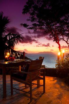 Candelight Sunset dinner with wine ~ Guana Island, British Virgin Islands