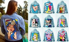 Painted Denim Jacket, Painted Jeans, Painted Clothes, Custom Denim Jackets, Pop Art, Denim Art, Denim Ideas, Clothes Crafts, Diy Clothing