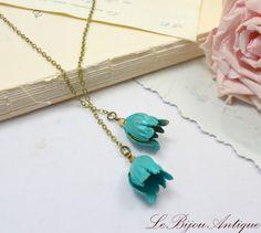 Blue Flowers necklace blue bells lariat long by LeBijouAntique