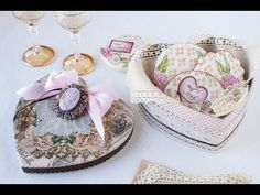 #NEW CRAFTING VIDEO: How to Make Valentine's Heart Boxes by Julia M Usher of Recipes for a Sweet Life. (Decorated with vintage valentines and costume jewelry!)