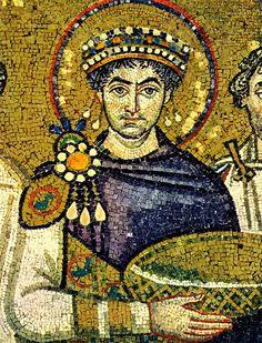 Giustiniano - Mosaico parietale  (VI sec) - San Vitale, Ravenna
