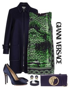 """""""Navy & Green Versace Dress Mix"""" by romaboots-1 ❤ liked on Polyvore featuring See by Chloé, Versace, Charlotte Olympia and NOVICA"""