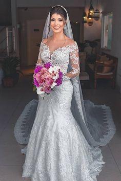Long Sleeves All Over Lace Mermaid Bridal Dress - Mermaid Wedding Dresses Dresses Elegant, Sexy Wedding Dresses, Wedding Dress Sleeves, Wedding Attire, Bridal Dresses, Bridesmaid Dresses, Wedding Gowns, Wedding Tips, Mexican Wedding Dresses