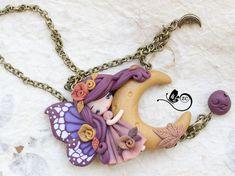 polymer clay necklace / fairy / clay / fimo / zingara creativa