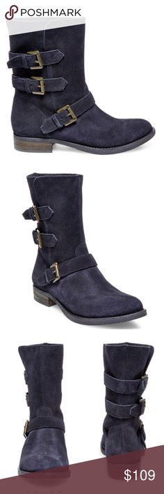 HP 9/16Steve Madden grey suede booties So cute and necessary for any season! Match it up with your fall/spring wardrobe with just about anything! Color is a dark grey suede, real leather, with distressed gold buckles! Slip on, no zipper. So cute with jeans or a skirt! NEW IN BOX! ⚫️ RETAILS FOR $139+tax! ⚫️FIRM PRICE! Steve Madden Shoes Ankle Boots & Booties