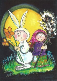 Postcard travelled km miles) in 15 days (from Finland to United Kingdom): Easter Guests, by Virpi Pekkala Beatrix Potter, Animated Clipart, Good Night Moon, Hoppy Easter, Vintage Easter, Funny Cards, Whimsical Art, Cartoon Kids, Cute Illustration