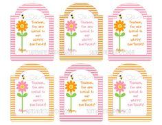 Printable Teacher Birthday Gift Tags, Happy Birthday Printable Teacher Tags by SUNSHINETULIPDESIGN