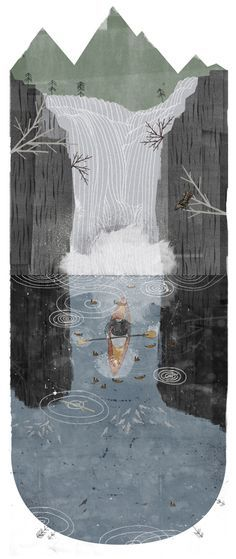 love heading over waterfall illustration - Google Search