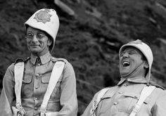 Charles Hawtrey and Terry Scott having a laugh on the set of Carry On Up The Khyber.