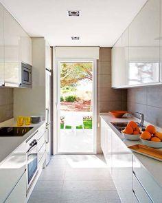 modern white kitchen Similar layout to ours