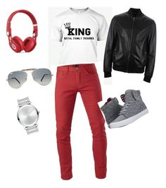 """Beauty and Brains Tees for Men"" by lusciouslysha on Polyvore featuring 3x1, Supra, Movado, Ray-Ban, Beats by Dr. Dre and Versace"